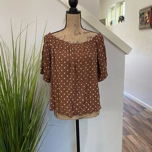 Maurice's blouse, brown with polka dots